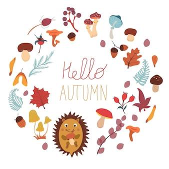Outono com folhas de cogumelos, bolotas e bagas coleção de vetores de outono