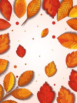 Outono com folhas moldura e cópia espaço