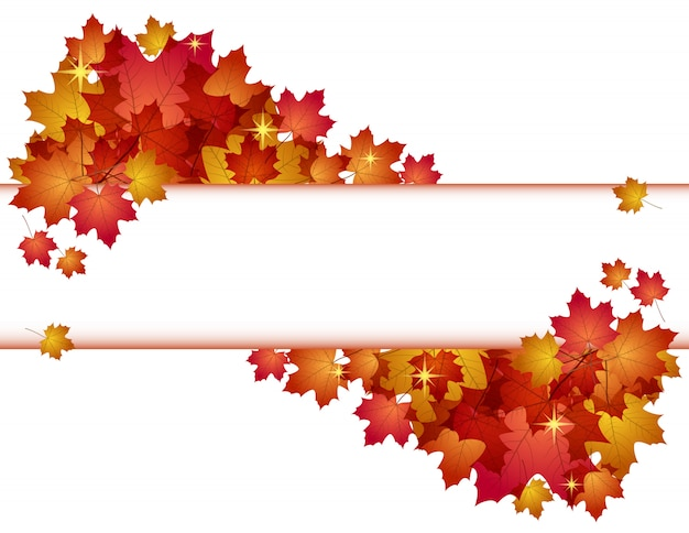 Outono com folhas vermelhas. .