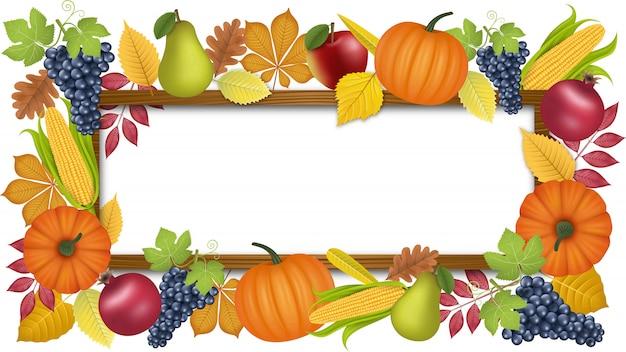 Outono com moldura de madeira e frutos de outono