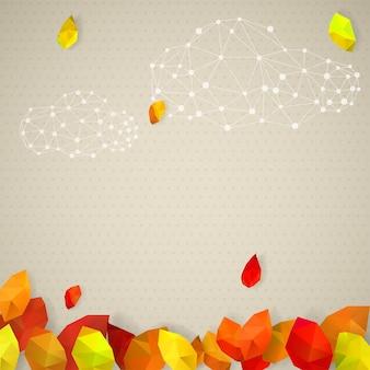 Outono com pontos, folhas em estilo triangular low-poly e nuvens feitas de pontos e linhas