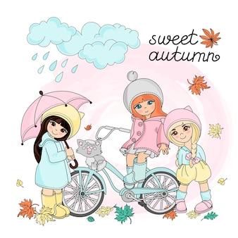 Outono conjunto de ilustração vetorial