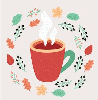 Outono de chá. chá delicioso com limão no outono.