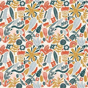 Outono de cores brilhantes de padrão floral sem emenda. flores planas, pétalas, folhas e elementos de doodle.