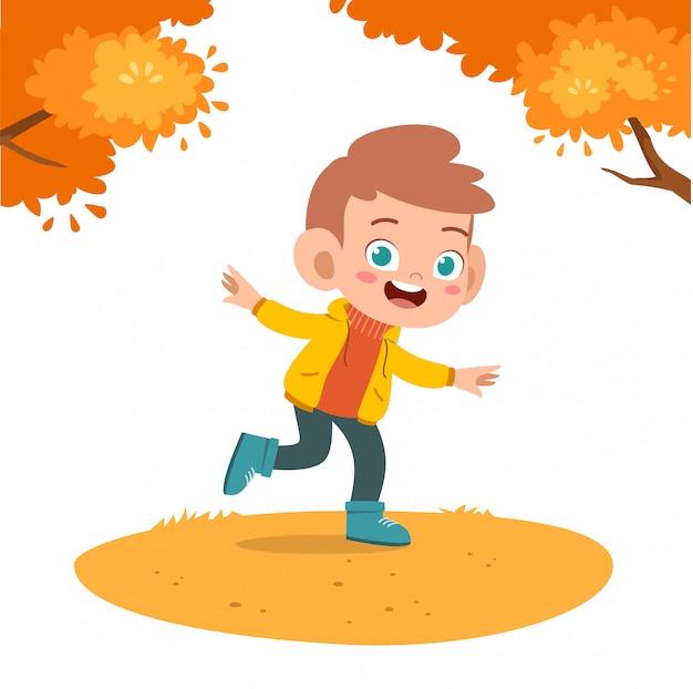 Outono de crianças felizes