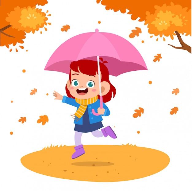 Outono de guarda-chuva de crianças felizes