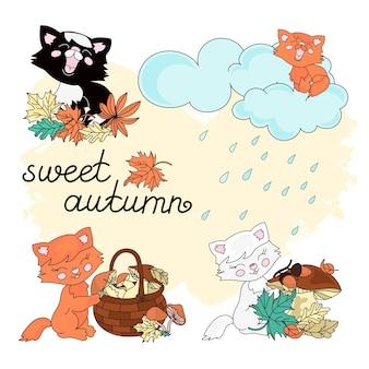 Outono de outono doce conjunto de ilustração vetorial
