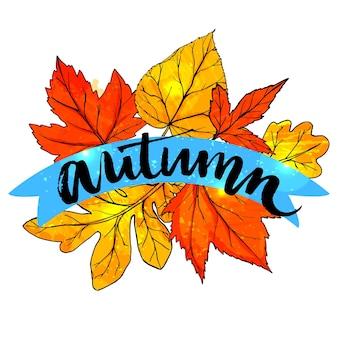 Outono de palavra caligrafia manuscrita em fundo de folhas de laranja. bandeira de vetor de outono.