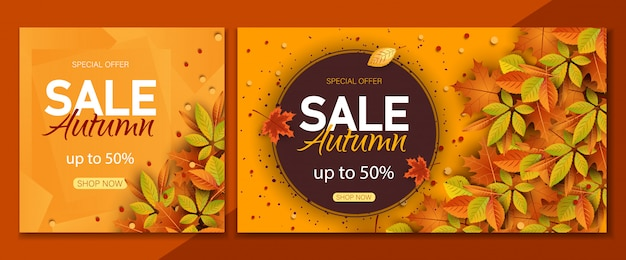 Outono definir fundos de venda. texto de venda e desconto de outono