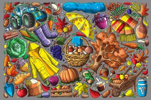 Outono doodle definir ilustração vetorial