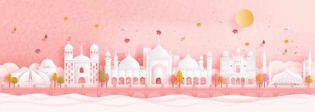 Outono em islamabad, paquistão, com folhas caindo e pontos de referência mundialmente famosos na ilustração do estilo de corte de papel