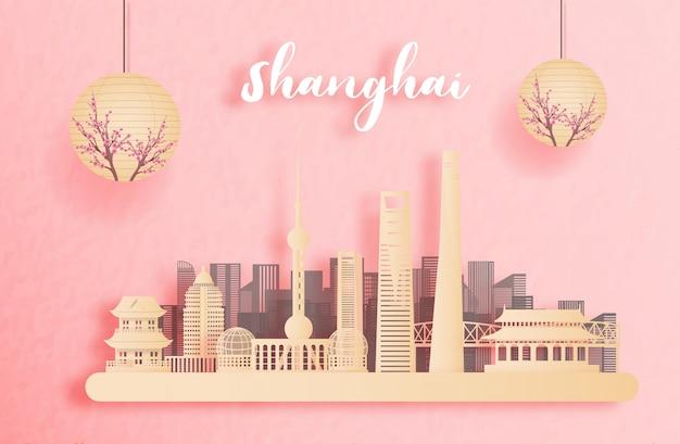 Outono em shanghai, china com lanterna de estilo chinês. ilustração de corte de papel