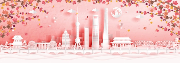 Outono em xangai, china, com folhas de plátano caindo e monumentos famosos do mundo em ilustração de estilo de corte de papel