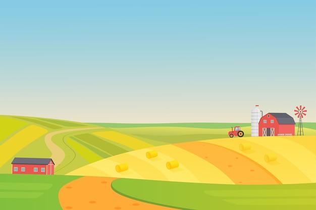 Outono ensolarado eco colheita de paisagem agrícola com veículos agrícolas, moinho de vento, torre de silagem e feno. ilustração colorida