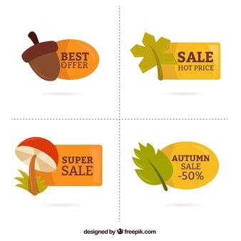 Outono etiquetas bonitas com ofertas
