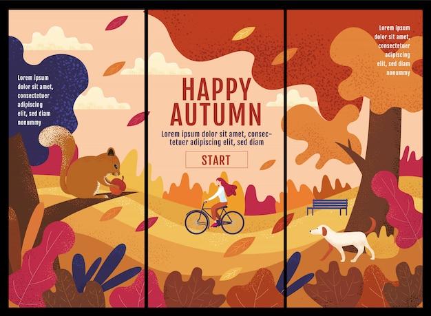 Outono feliz, ação de graças, mulheres que montam uma bicicleta no jardim do outono.