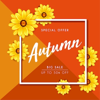 Outono flor amarela sazonal venda banner design queda