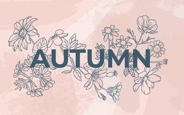Outono floral com fundo aquarela