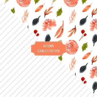 Outono floral e listras sem costura padrão