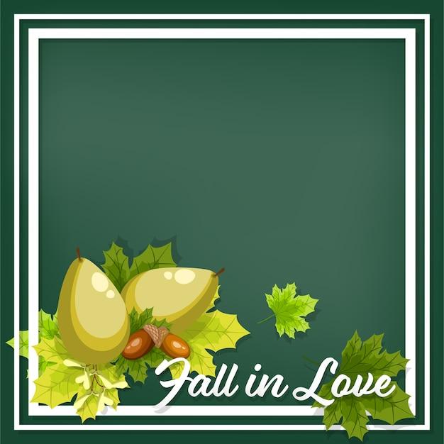 Outono floral fundo com queda no texto de amor.