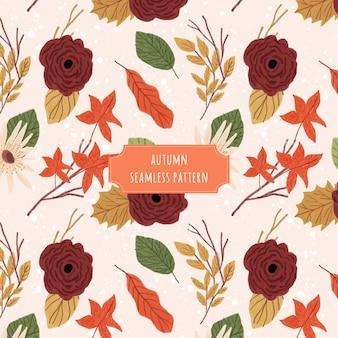 Outono floral sem costura padrão e textura de fundo