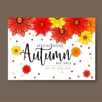 Outono flores banner de modelo de venda, ilustração vetorial