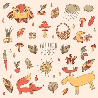 Outono fofinho doodle conjunto