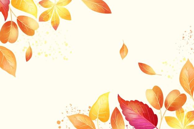 Outono fundo aquarela com folhas