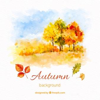 Outono fundo aquarela