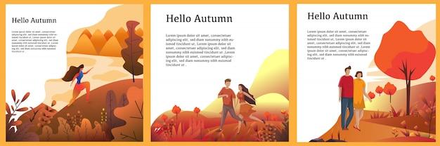 Outono fundo conceito conjunto vector design