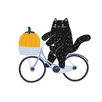 Outono halloween gato preto em uma bicicleta com uma abóbora animal kawaii fofo