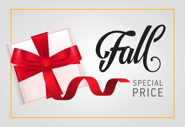 Outono, letras de preço especial com caixa de presente