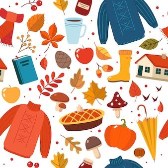 Outono mão desenhada sem costura padrão com elementos sazonais em branco.