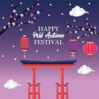Outono mid cartoon festival chinês