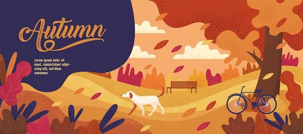 Outono, modelo de banner, ação de graças, cartoon