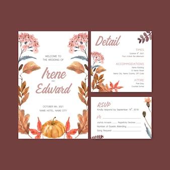 Outono modelo diário de design para cartão de casamento e convite aquarela