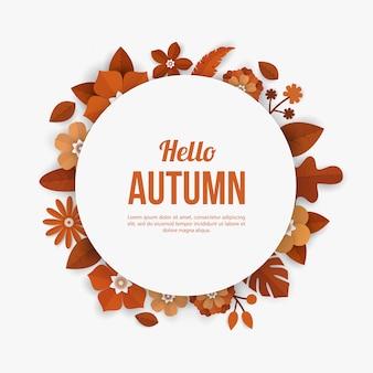 Outono moldura arredondada com elementos de flor no estilo de corte de papel