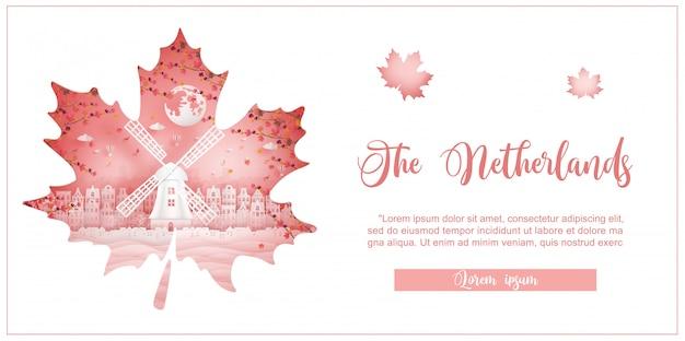 Outono na holanda com o conceito de temporada para cartão postal de viagem, cartaz, tour publicidade