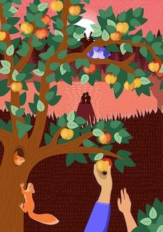 Outono ou verão, humor feliz, desenhado à mão, outono, natureza, pôster, amoroso, casal, abraços, pôr do sol, lago