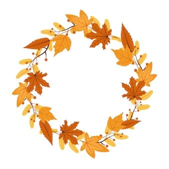 Outono outono folha saudação convite círculo quadro fundo bouquet
