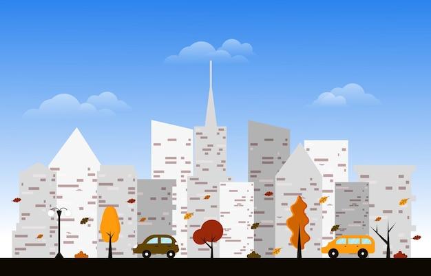 Outono outono temporada city street edifício vista da cidade vista plano design ilustração