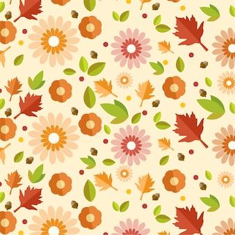Outono padrão com folhas de vektor e flor