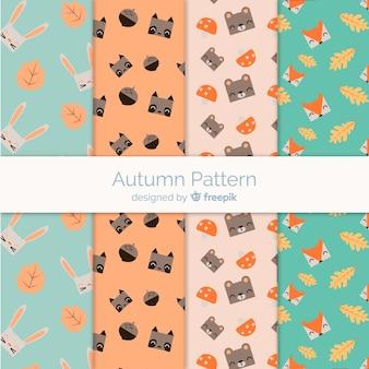 Outono padrão definido com animais fofos