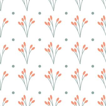 Outono padrão minimalista em branco. ramifique com bagas vermelhas. padrão uniforme