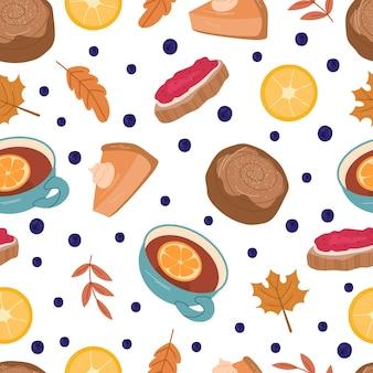 Outono padrão sem emenda aconchegante com geléia, chá, pão, folhas e grãos. ilustração em vetor mão desenhada dos desenhos animados.