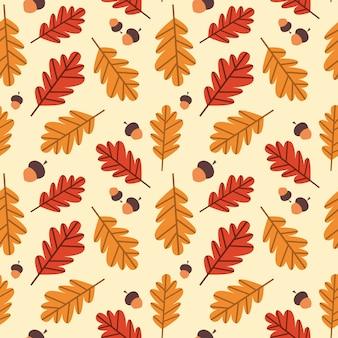 Outono padrão sem emenda amarelo carvalho folhas ornamento temporada de outono