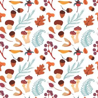 Outono padrão sem emenda com cogumelos, folhas, bolotas e barries. padrão de vetor de outono.
