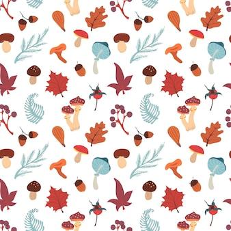 Outono padrão sem emenda com cogumelos, folhas, bolotas e frutos. padrão de vetor de outono.