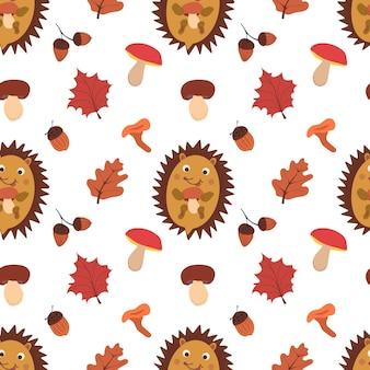 Outono padrão sem emenda com cogumelos, folhas, bolotas e hadgehog. padrão de vetor de outono.