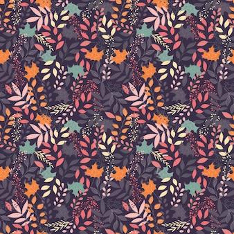 Outono padrão sem emenda com elementos decorativos florais